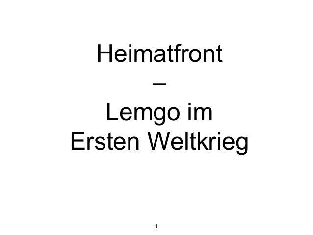Heimatfront – Lemgo im Ersten Weltkrieg 1
