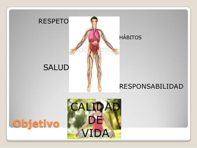 RESPETO HÁBITOS  SALUD RESPONSABILIDAD  CALIDAD DE Objetivo VIDA