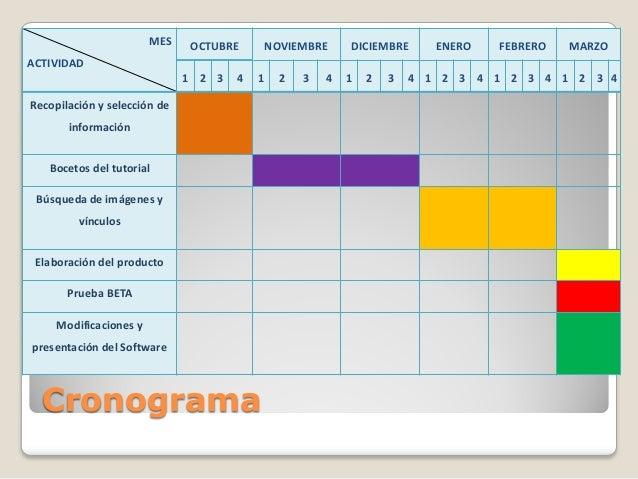 MES  OCTUBRE  NOVIEMBRE  DICIEMBRE  ENERO  FEBRERO  MARZO  ACTIVIDAD 1 2 3  4  1  Recopilación y selección de información ...