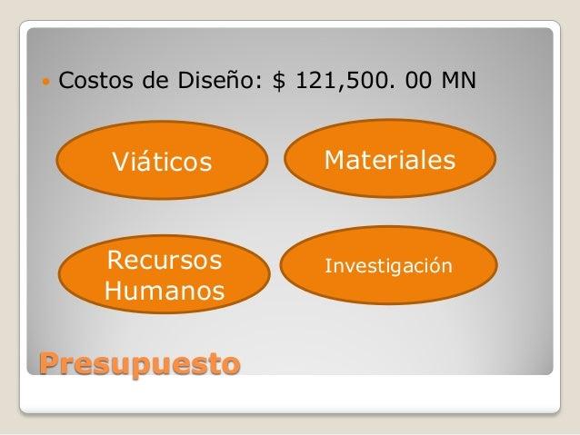   Costos de Diseño: $ 121,500. 00 MN  Viáticos  Materiales  Recursos Humanos  Investigación  Presupuesto