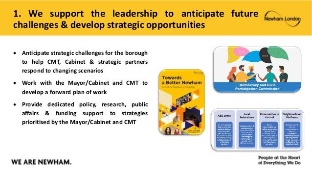 1. We support the leadership to anticipate future challenges & develop strategic opportunities  Anticipate strategic chal...