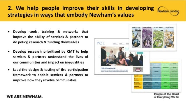 2. We help people improve their skills in developing strategies in ways that embody Newham's values  Develop tools, train...