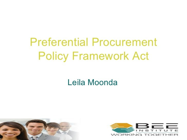 Preferential Procurement Policy Framework Act Leila Moonda