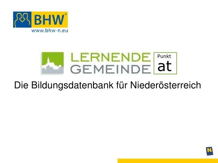 Punkt                                atDie Bildungsdatenbank für Niederösterreich