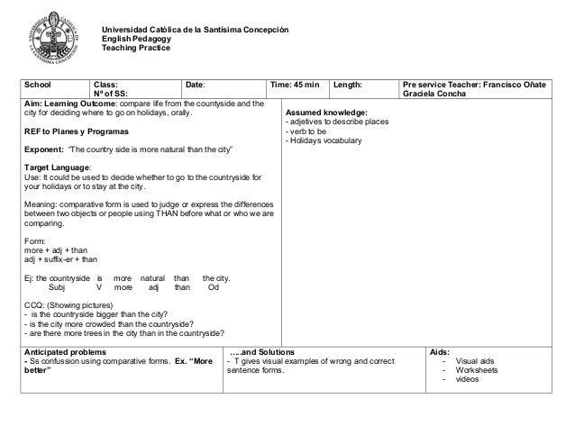 Ppp Lesson Plan Format Final 1. Universidad Católica De La Santísima  Concepción English Pedagogy Teaching Practice School Class: Nº Of SS ...  Lesson Plan Formats