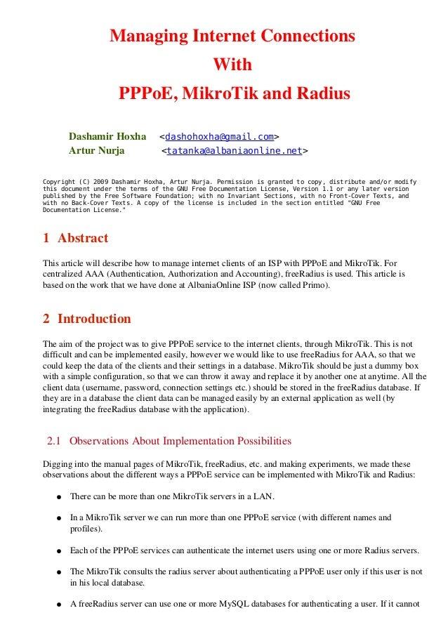 ManagingInternetConnections                                               With                     PPPoE,MikroTikand...