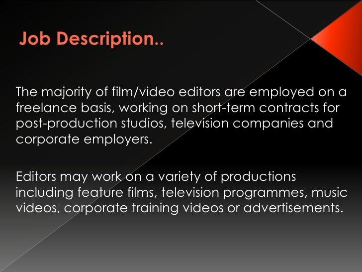 Editors Job – Video Editor Job Description