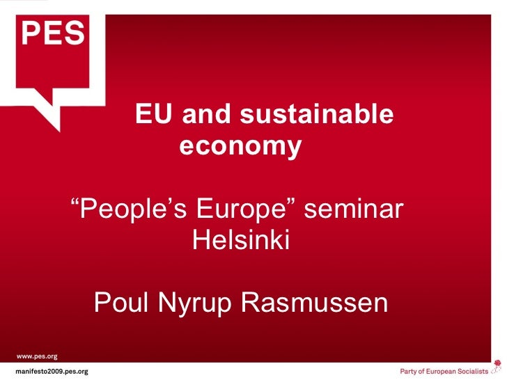 "EU and sustainable economy ""People's Europe"" seminar  Helsinki Poul Nyrup Rasmussen"