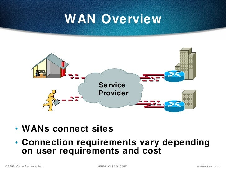 WAN Overview <ul><li>WANs connect sites </li></ul><ul><li>Connection requirements vary depending on user requirements and ...