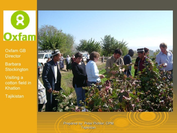 Prepared by: Peter Pichler, CPM Tajikistan Oxfam GB Director Barbara Stockington Visiting a cotton field in Khatlon Tajiki...