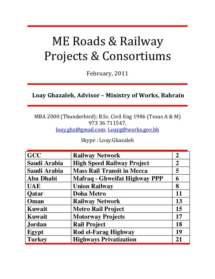ME Roads & Railway     Projects & Consortiums                      February, 2011 Loay Ghazaleh, Advisor – Ministry of Wor...