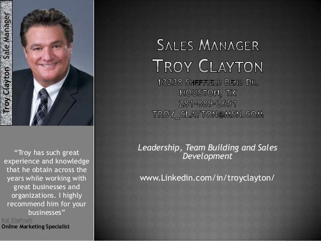 """Troy Clayton Sale Manager """"Troy has such great experience and knowledge that he obtain across the years while working with..."""