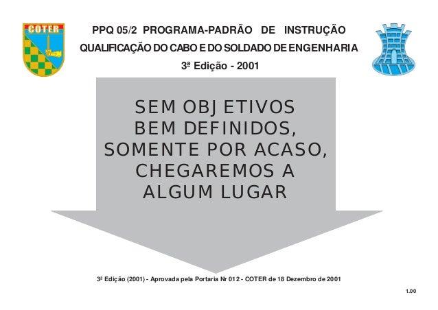 1.00 SEM OBJETIVOS BEM DEFINIDOS, SOMENTE POR ACASO, CHEGAREMOS A ALGUM LUGAR COTER PPQ 05/2 PROGRAMA-PADRÃO DE INSTRUÇÃO ...