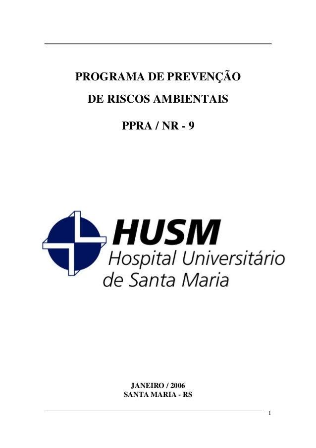 PROGRAMA DE PREVENÇÃO DE RISCOS AMBIENTAIS     PPRA / NR - 9        JANEIRO / 2006      SANTA MARIA - RS                  ...