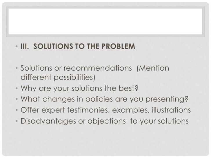 problem solution speech examples