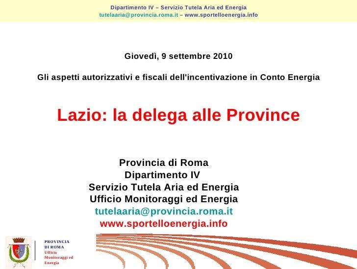 Le linee guida per lautorizzazione unica | Provincia di Roma