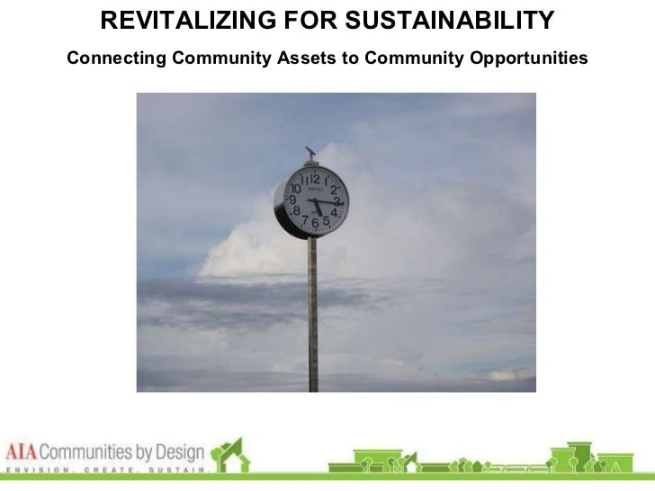 REVITALIZING FOR SUSTAINABILITY Connecting Community Assets to Community Opportunities