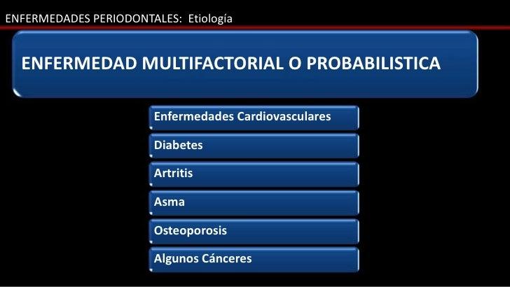 ENFERMEDADES PERIODONTALES: Etiología  ENFERMEDAD MULTIFACTORIAL O PROBABILISTICA                        Enfermedades Card...