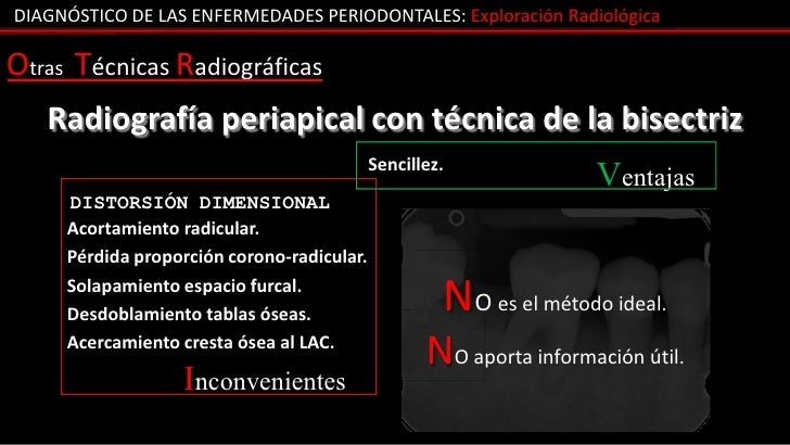 DIAGNÓSTICO DE LAS ENFERMEDADES PERIODONTALES: Exploración RadiológicaOtras Técnicas Radiográficas   Radiografía periapica...