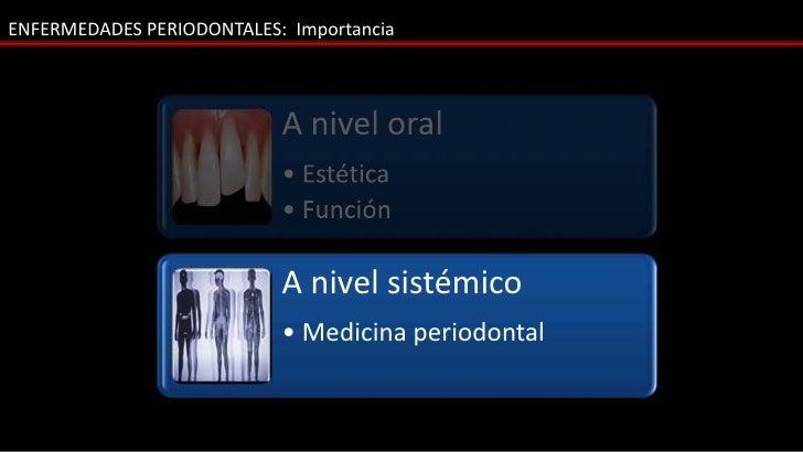 ENFERMEDADES PERIODONTALES: Importancia                           A nivel oral                           • Estética       ...
