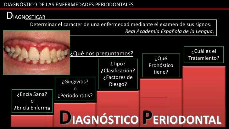 DIAGNÓSTICO DE LAS ENFERMEDADES PERIODONTALESDIAGNOSTICAR         Determinar el carácter de una enfermedad mediante el exa...