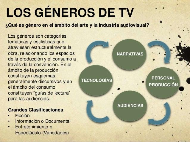 NARRATIVAS LOS GÉNEROS DE TV AUDIENCIAS PERSONAL PRODUCCIÓN TECNOLOGÍAS Los géneros son categorías temáticas y estilística...