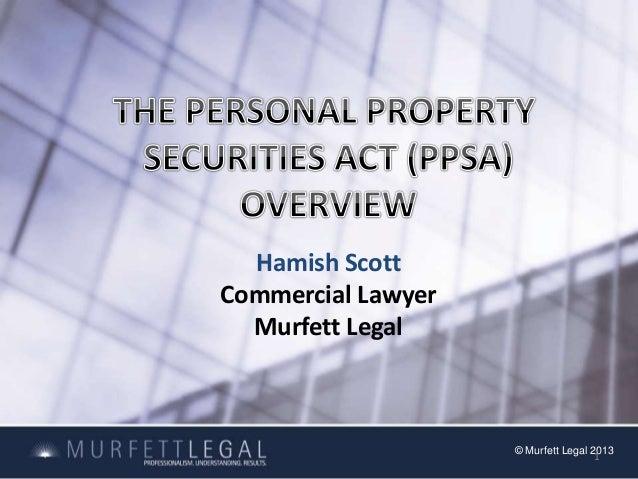 Hamish Scott Commercial Lawyer Murfett Legal  © Murfett Legal 2013 1