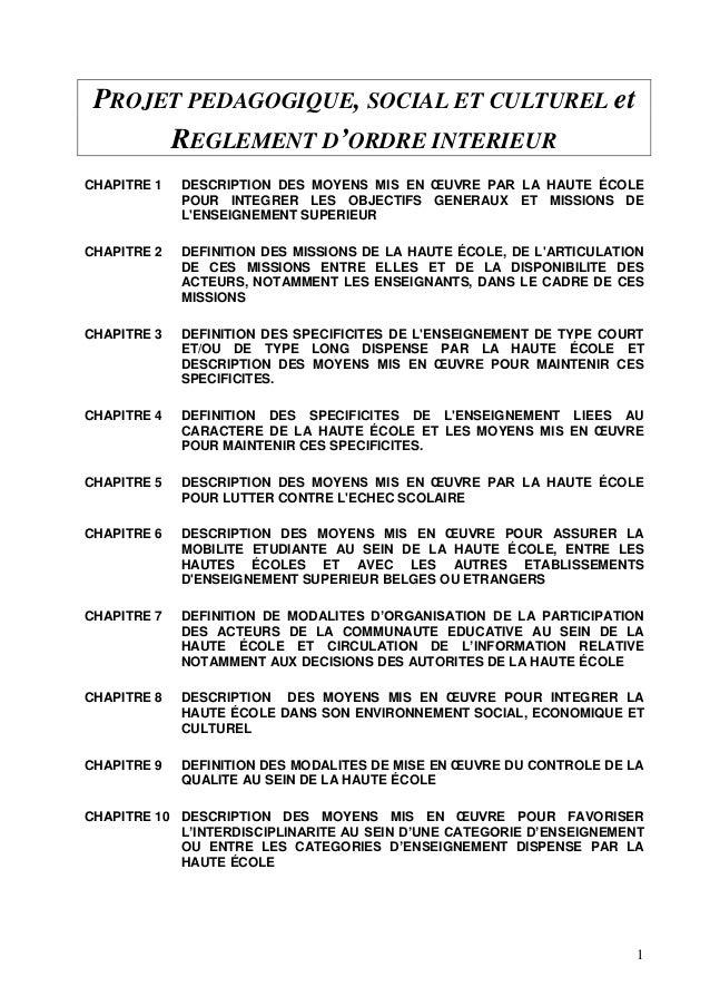 Projet p dagogique social et culturel et reglement d for Exemple reglement interieur sisa