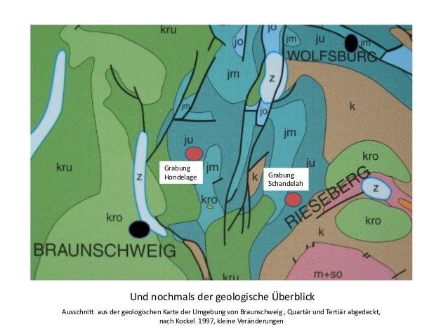 Grabung Schandelah Grabung Hondelage Ausschnitt aus der geologischen Karte der Umgebung von Braunschweig , Quartär und Ter...