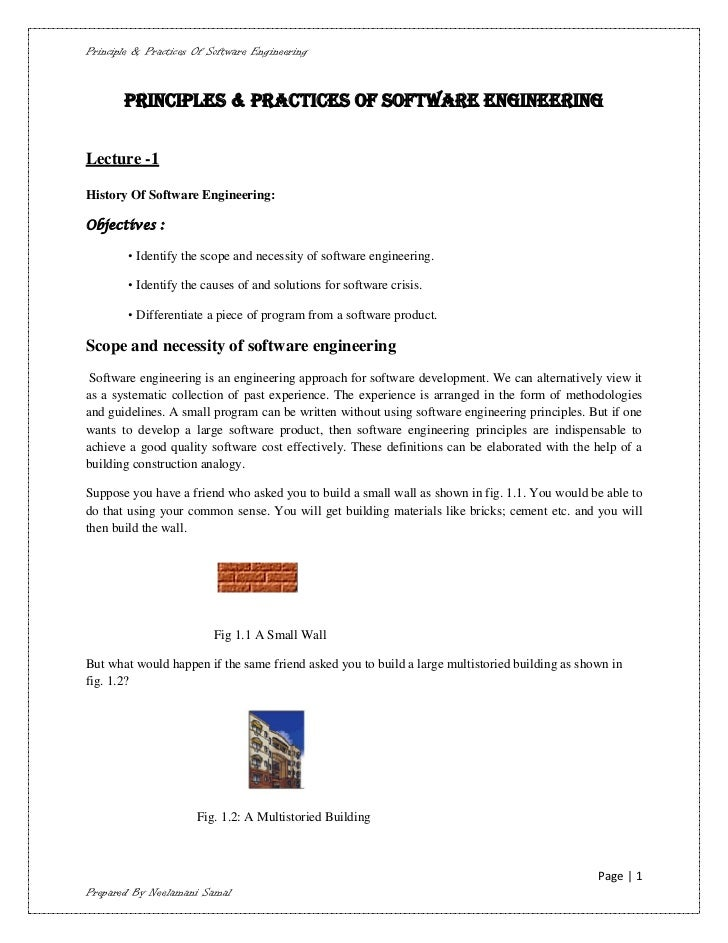 Principle & Practices Of Software Engineering       PRINCIPLES & PRACTICES OF SOFTWARE ENGINEERINGLecture -1History Of Sof...