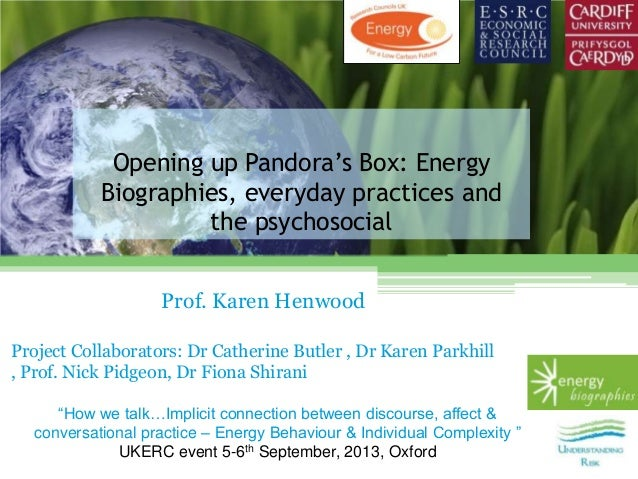Opening up Pandora's Box: Energy Biographies, everyday practices and the psychosocial Prof. Karen Henwood Project Collabor...