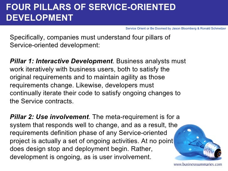 FOUR PILLARS OF SERVICE-ORIENTED DEVELOPMENT Specifically, companies must understand four pillars of Service-oriented deve...