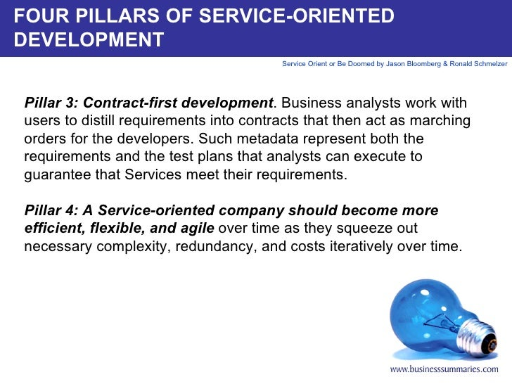 FOUR PILLARS OF SERVICE-ORIENTED DEVELOPMENT Pillar 3: Contract-first development . Business analysts work with users to d...