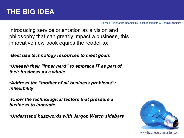 THE BIG IDEA <ul><li>Introducing service orientation as a vision and philosophy that can greatly impact a business, this i...