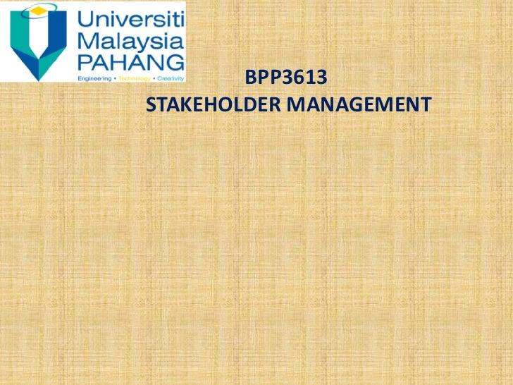 BPP3613STAKEHOLDER MANAGEMENT