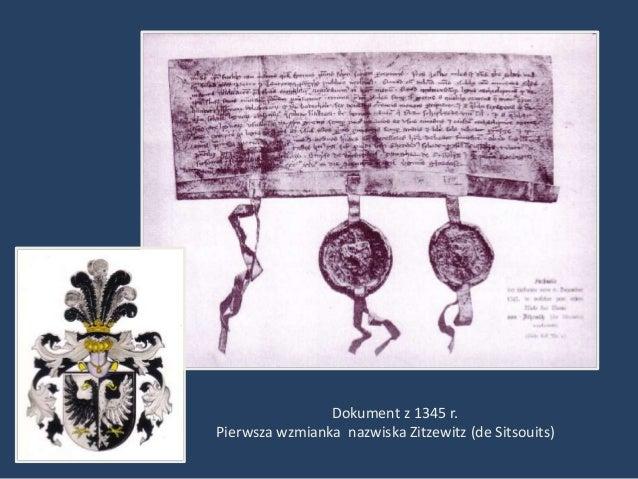 Dokument z 1345 r.Pierwsza wzmianka nazwiska Zitzewitz (de Sitsouits)