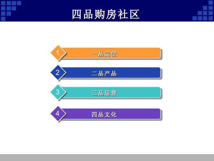 四品购房社区 一品定位 1 二品产品 2 三品运营 3 四品文化 4