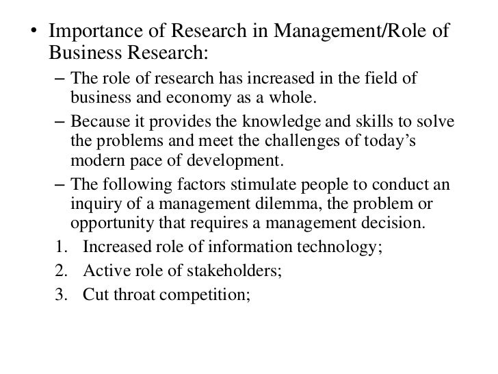 the role of business research