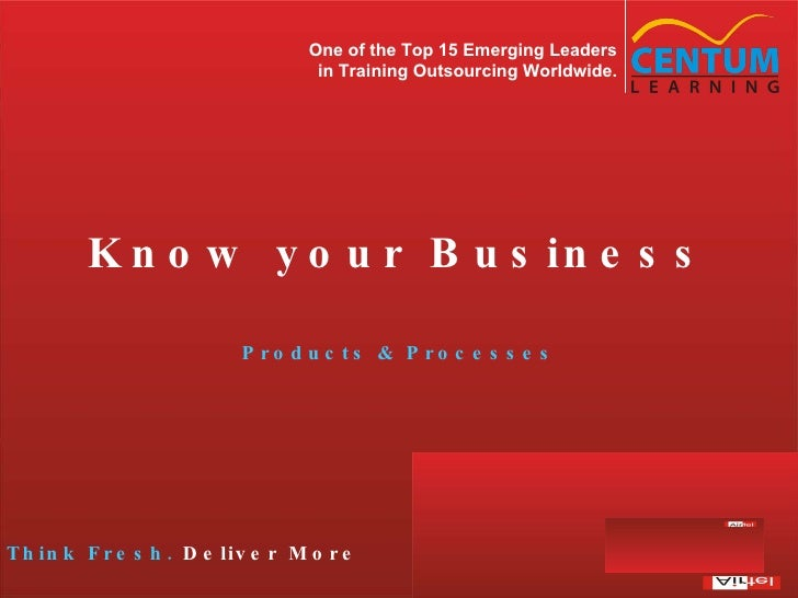 Know your Business Products & Processes