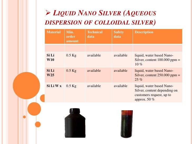 <ul><li> Liquid Nano Silver (Aqueous dispersion of colloidal silver)</li></li></ul><li><ul><li> Nano Silver PET & PP Maste...