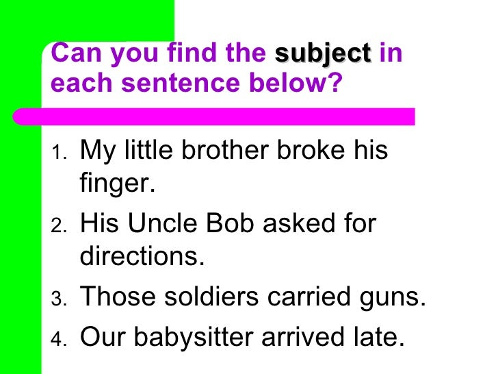 Subject and predicate for Sentence of floor
