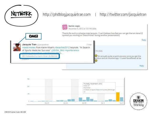 http://phdblog.jacquietran.com   |   http://twitter.com/jacquietran                               OMG!CRICOS Provider Code...