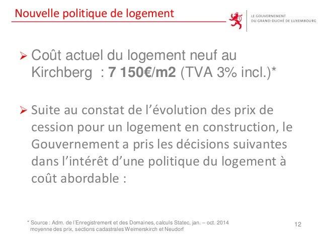 Nouvelle politique de logement  Coût actuel du logement neuf au Kirchberg : 7 150€/m2 (TVA 3% incl.)*  Suite au constat ...