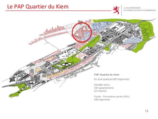 Le PAP Quartier du Kiem 18 PAP Quartier du Kiem Au total quelques 820 logements SNHBM (55%) 400 appartements 32 maisons Fo...