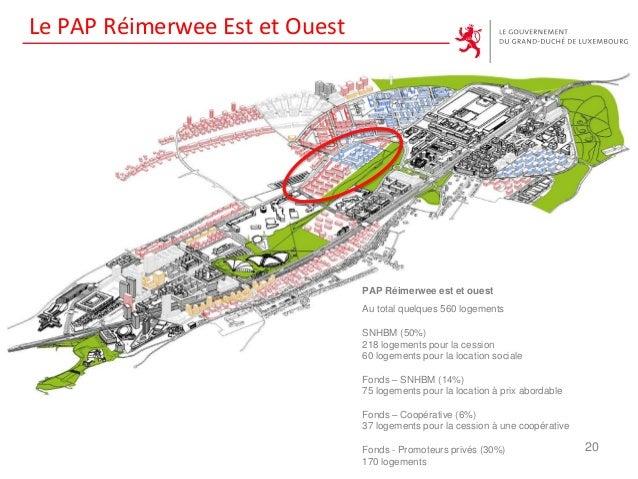 Le PAP Réimerwee Est et Ouest 20 PAP Réimerwee est et ouest Au total quelques 560 logements SNHBM (50%) 218 logements pour...
