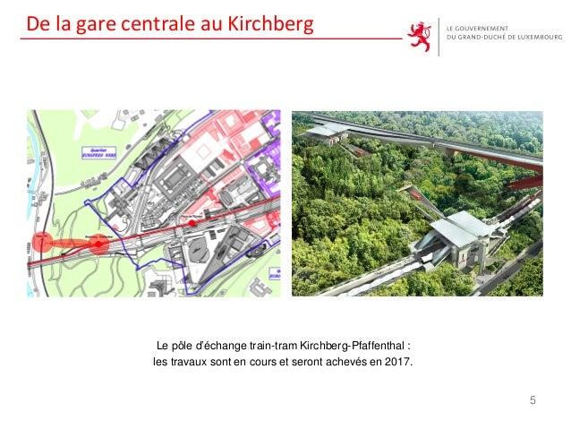 De la gare centrale au Kirchberg Le pôle d'échange train-tram Kirchberg-Pfaffenthal : les travaux sont en cours et seront ...