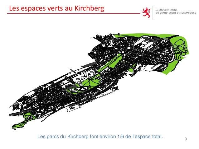 9 Les parcs du Kirchberg font environ 1/6 de l'espace total. Les espaces verts au Kirchberg