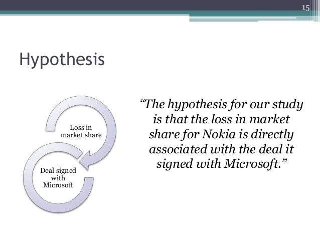 """Hypothesis """"The hypothesis for our study is that the loss in market share for Nokia is directly associated with the deal i..."""
