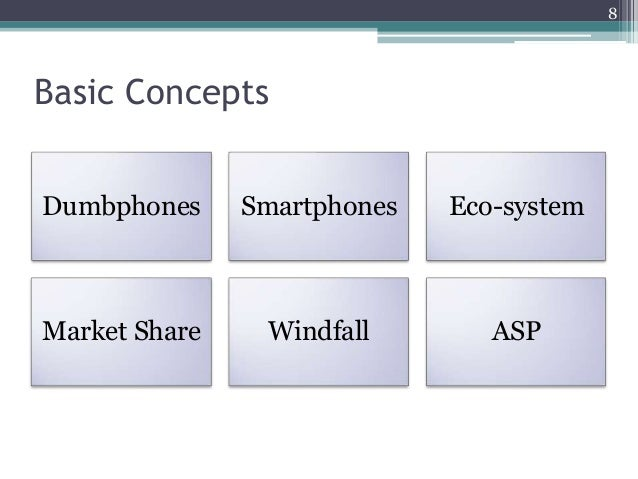 Basic Concepts Dumbphones Smartphones Eco-system Market Share Windfall ASP 8