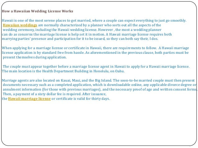 Getting Married in Hawaii - Hawaii Marriage License Requirements